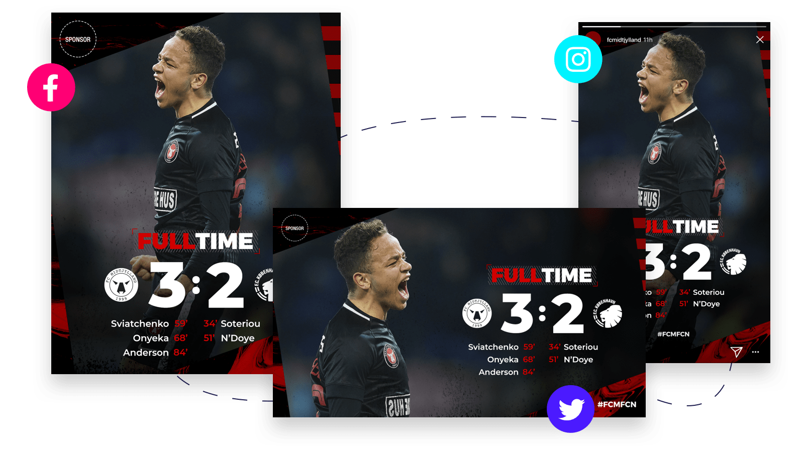 Same sports template in three different sizes showing how easy it is to resize with Content Stadium content creation tool