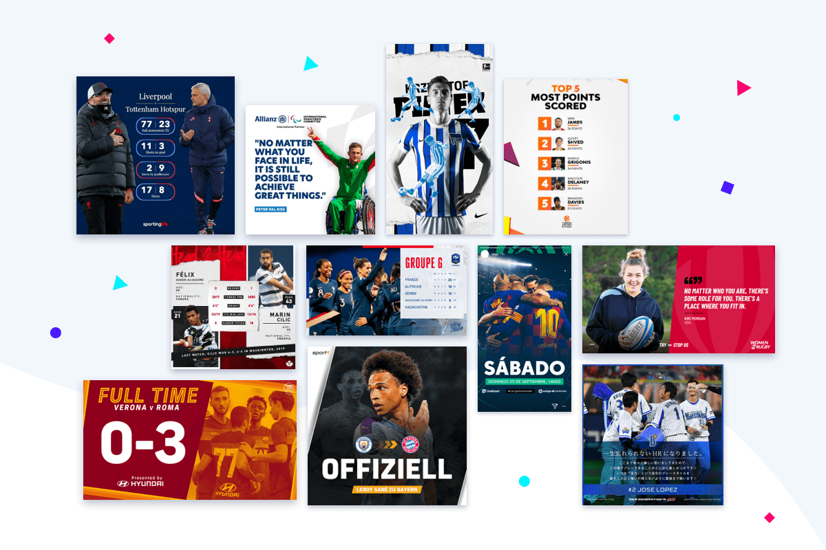 Sports example content templates by Content Stadium clients