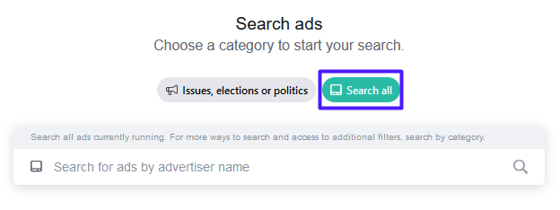 Facebook Ad Library search bar