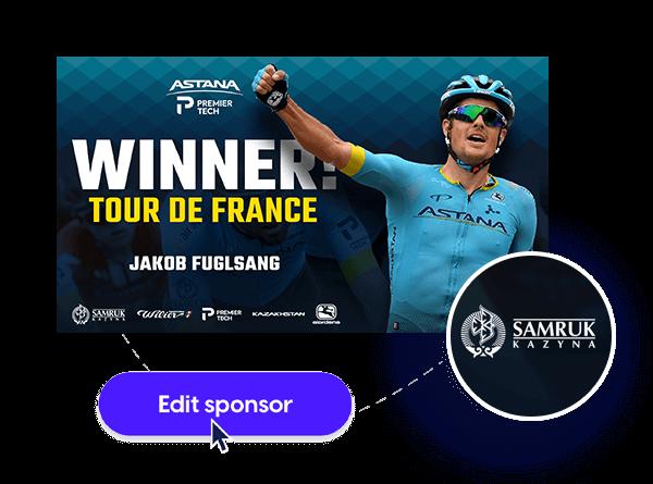 Astana sports social media template with sponsor logo