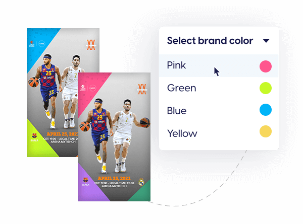 EuroLeague sports branded template with on-brand color switches