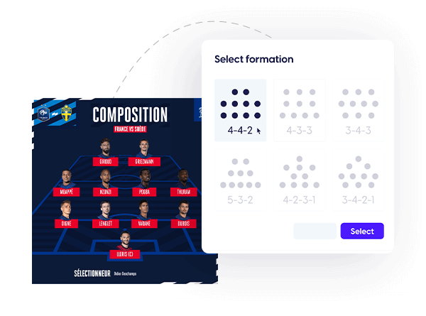 Sports template with one-click formation switch