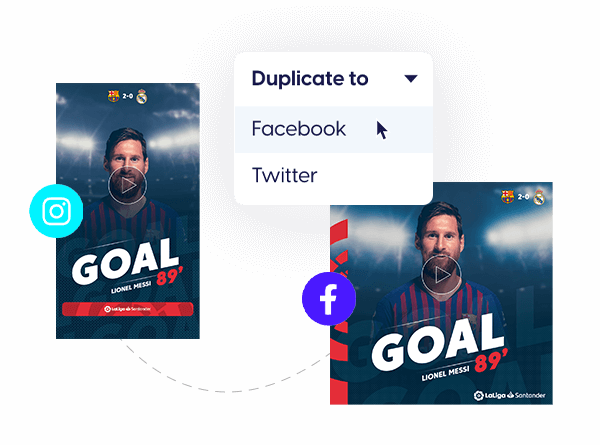 LaLiga football template with duplicate to multiple social media sizes feature