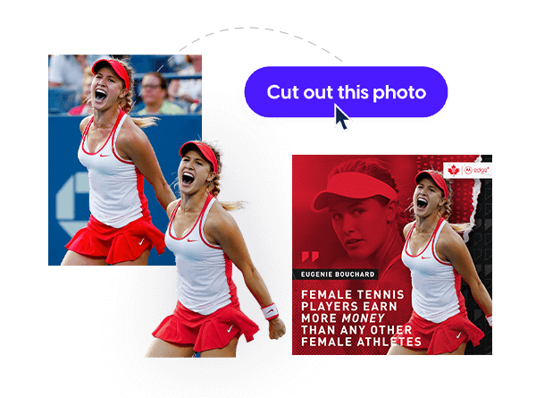 Tennis Canada sports template with cut-out feature