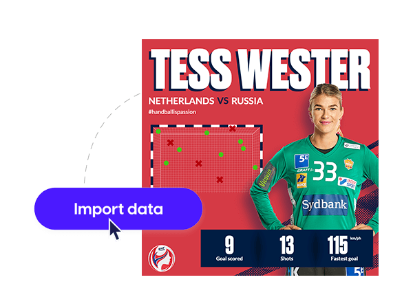 EHF sports social media template with data import