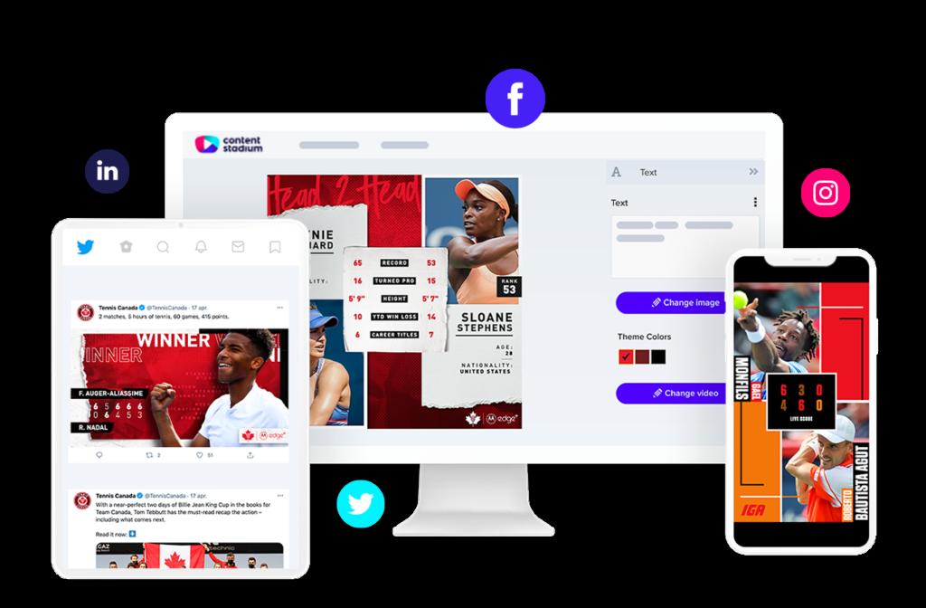 Tennis Canada social media templates in Content Stadium content creation tool