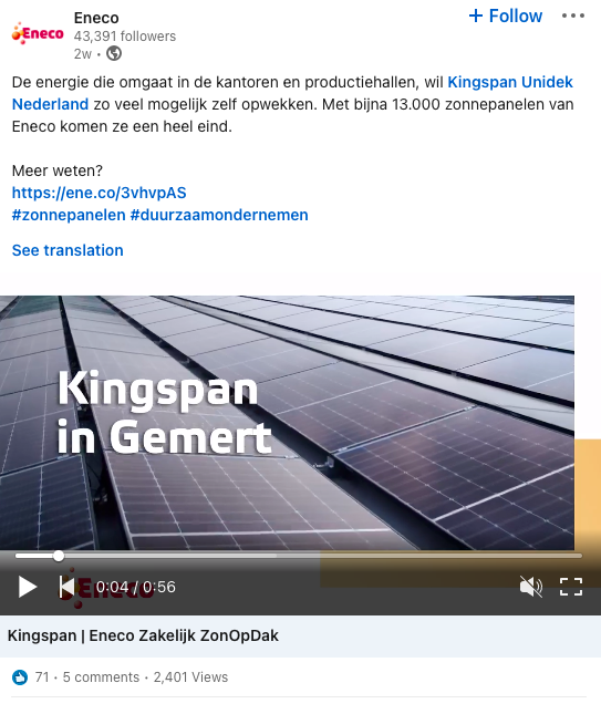 example of employer branding post for Eneco