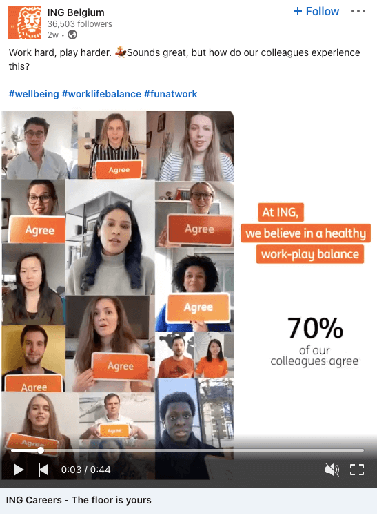 Example of a stat employer branding social media post from ING