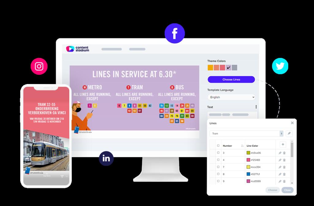 STIB-MIVB social media templates in the Content Stadium platform