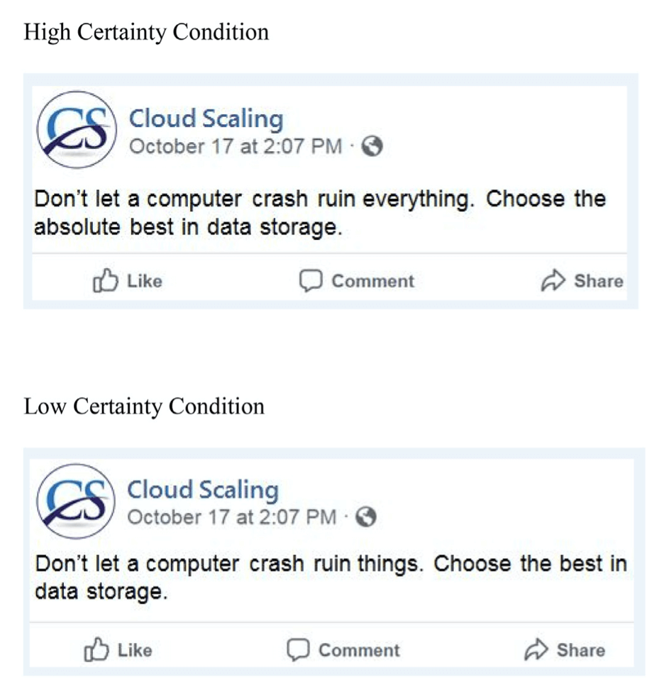 High-certainty and low-certainty social media post examples