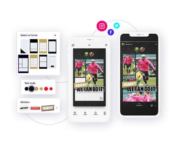 FC Utrecht social media content in the Content Stadium LIVE app