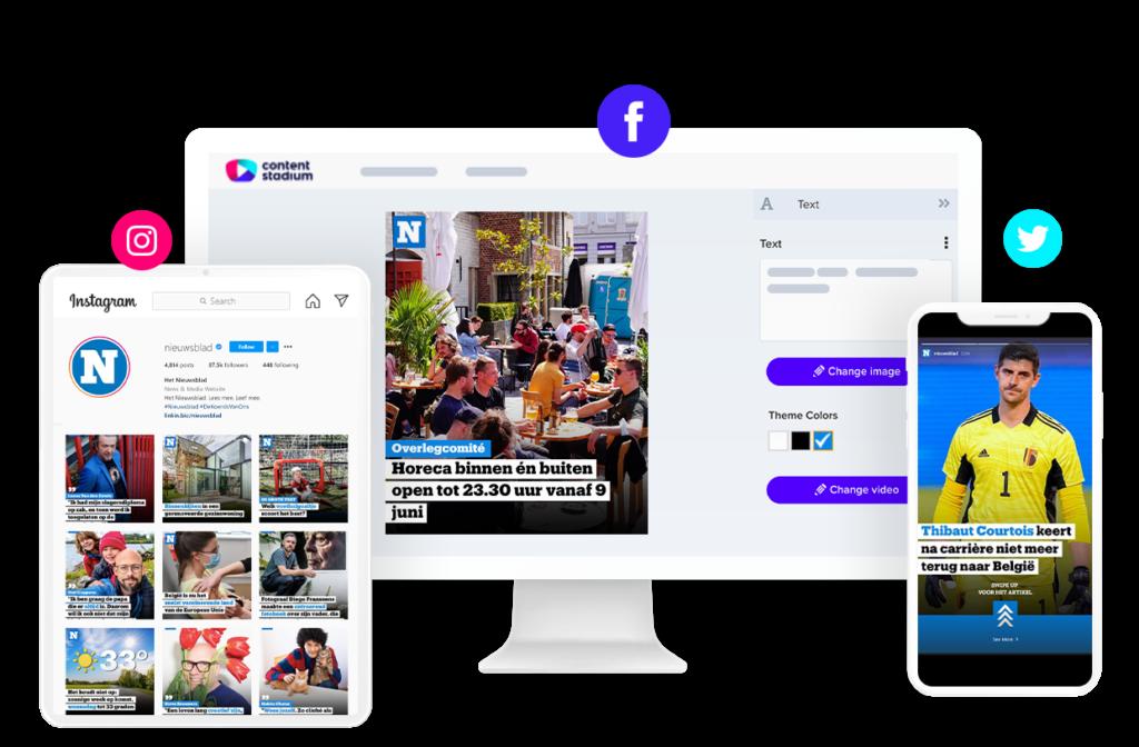 Het Nieuwsblad social media content and templates in the Content Stadium platform