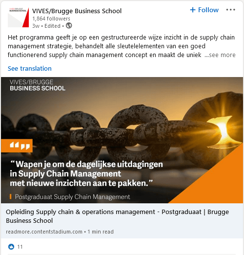 LinkedIn post from VIVES/Brugge Business School created using Content Stadium CREATE template