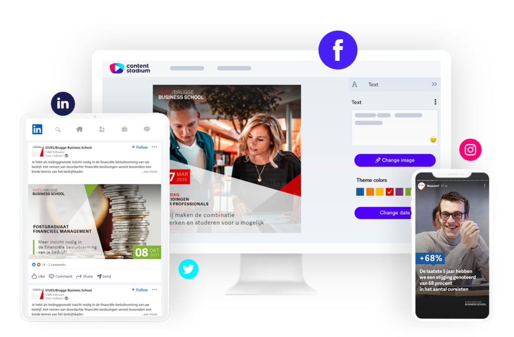 Brugge Business School social media content created using Content Stadium CREATE templates