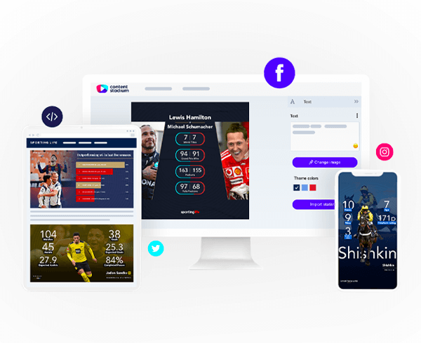 Sporting Life templates in the Content Stadium content creation tool