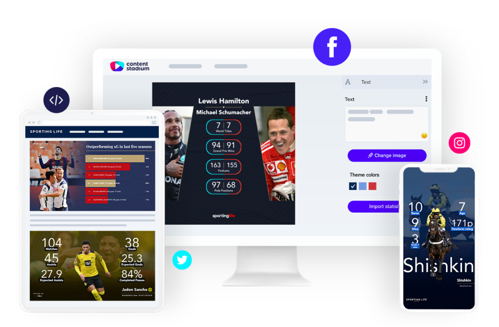 Sporting Life sports social media content in the Content Stadium CREATE tool